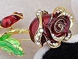 Gold Tone Ruby Enamel Painted Rhinestone Magical Beast Beauty Rose Pin Brooch