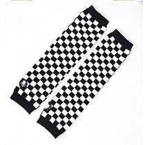Pair Black White Plaids Print Acrylic Fingerless Arm Warmers Gloves for Women