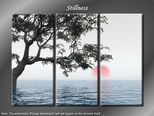 Framed Huge 3 Panel Modern Art Calm Ocean Stillness Giclee Canvas Print