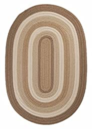 Braided Area Rug 2ft. x 4ft. Oval Natural Indoor/Outdoor Reversible Carpet