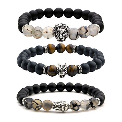Top Plaza Jewelry - Mens Womens Cool Black Matte Agate Gems 8MM Beads Stretch Bracelet with Dragon Vein Agate Tiger Eye Beads (Pack of 3) (Bracelet With Gems compare prices)