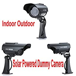 Constructan(TM) Indoor Outdoor Waterproof Solar Powered Fake/Dummy Security Camera with LED Light