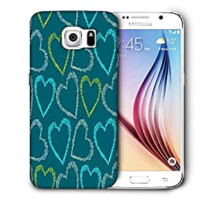 Snoogg Colorful Hearts Green Pattern Printed Protective Phone Back Case Cover For Samsung Galaxy S6 / S IIIIII