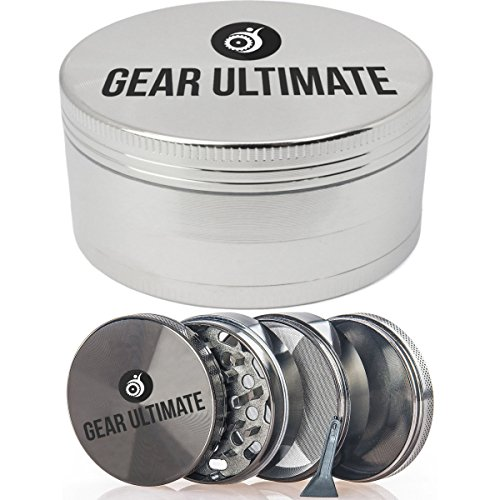 Gear-Ultimate-Herb-Grinder-Large-25-Inch-4-Piece-Anodized-Aluminum-with-Pollen-Catcher-and-Scraper-Best-Herb-Crusher-for-Tobacco-Weed-Tea-Herbs-and-Spices