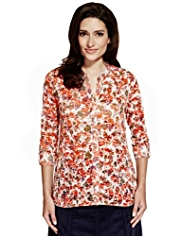 Per Una Burnout Petal Print Bubble Hem Blouse