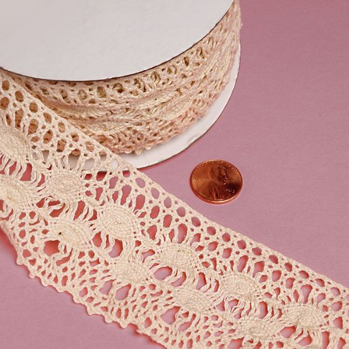 "New COTTON CROCHET LACE TRIM - 10 Yards (Ivory Berry - 2 1/3"")"