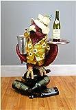 Parrot Butler Statue bird drink serving silver tray 3' waiter restaurant kitchen
