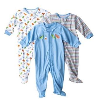 Boys' 3 Pack Zip Front Sleep N' Play - Dino (6-9 Months)
