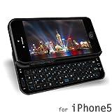 iPhone5専用 Bluetooth バッテリー内蔵スライドキーボード 一体型 ブラック