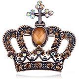 Vintage Repro Topax Crystal Rhinestone Royal Crown Costume Jewelry Pin Brooch