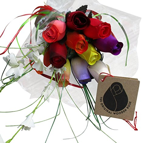 The Original Wooden Rose Assorted Colors Wooden Rose Closed bud Bouquets 1 dozen