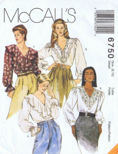 Mccalls 6750 Sewing Pattern for Draped or Lace Overlay Neckline or Collar Blouse Options Misses 8-10 PDF