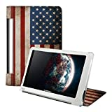 Kwmobile Chic leather for the Lenovo Yoga Tablet 8 with convenient stand function and Retro flag design (USA)