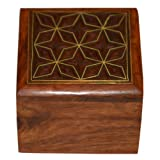 Handmade Jewellery Box Square Shape Wood Carving With Abstract Brass Inlay Design