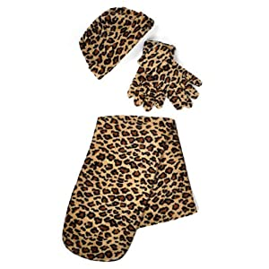 Black & Brown Leopard Print 3 Piece Fleece Hat, Scarf & Glove Women's Winter Set