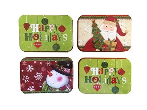 Christmas gift card holders tin box santa snowman pack