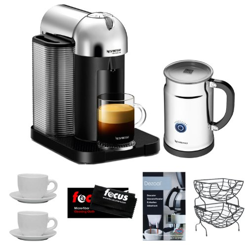 Nespresso VertuoLine AGCA1USCHNE Espresso Machine (Chrome) w/ Aeroccino Plus + Nifty 6650 Single Serve Coffee Baskets + Accessory Kit
