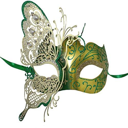 Masquerade Mask Venetian Butterfly Shiny Metal Mardi Gras Mask Multicolor (Mardi Gras Fashion)