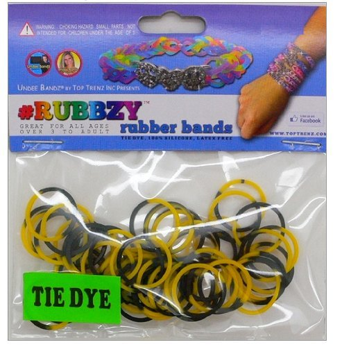 Undee Bandz Rubbzy 100 Black & Yellow Tie-Dye Rubber Bands with Clips [V] - 1