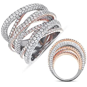 14k 6.47 Dwt Diamond Pink and White Gold Pave Band Ring - JewelryWeb