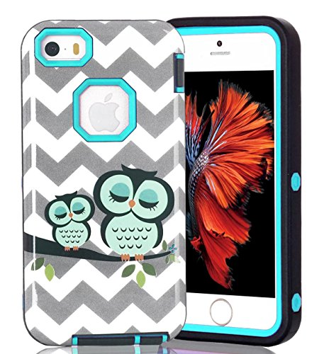 iPhone 5S Case,iPhone SE Case, Welity Durable Shockproof Hybrid Armor Three Pieces Layers 3 in 1 High Impact Soft TPU Hard PC Tough Rugged Combo Defender Cover Case for Apple iPhone 5 5S SE Teal (Iphone 5s Case Protective Owl compare prices)