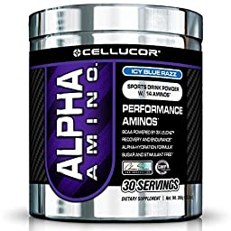 Cellucor Alpha Amino Supplement, Icy Blue Razz, 30 Servings, 13.3 oz.