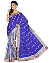 Beige Cotton Jacquard And Royal Blue Chiffon Jacquard Saree With Blouse