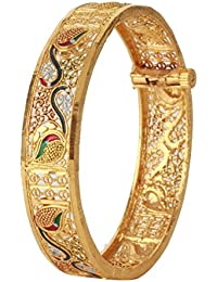 Dilan Jewels PURE Collection Gold Plated Enamel Peacock Openable Bangle Kada For Women