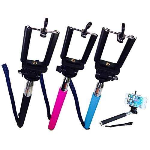 自分撮り 一脚 スティック iphone ・ スマホ ・デジカメ ハンディーカム 用長さや 角度 自由 調整 可 ブラック