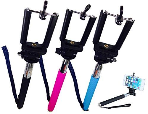自分撮り 一脚 スティック iphone ・ スマホ ・デジカメ ハンディーカム 用長さや 角度 自由 調整 可 ピンク