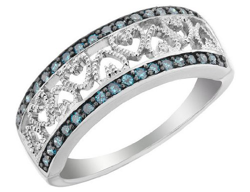 Blue Diamond Heart Ring 1/4 Carat (ctw) in Sterling Silver, Size 5.5