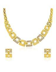 Oviya Gold Plated Shimmering Gemotric Glam Necklace Set For Women NL2103069G