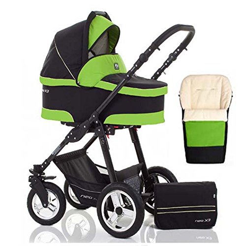 2 in 1 Kinderwagen Neo X3 - Kinderwagen + Sportwagen + Fußsack + GRATIS ZUBEHÖR in Farbe Schwarz-Grün
