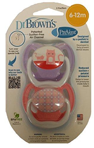 Dr. Brown'S Prevent Design Pacifier, Girls, 6-12 Months