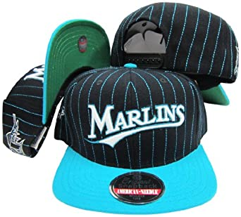 Florida Marlins Pinstripe Two Tone Plastic Snapback Adjustable Plastic Snap Back Hat... by American Needle