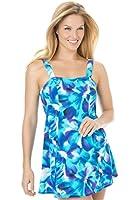 Swim 365 Women's Plus Size Swimdress In Pretty Print