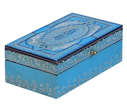 SouvNear Jewelry Box Wooden Decorative Treasure Chest Blue Stylish Storage Box Keepsake Box - Friendship Day Offer