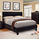 Mantua Modern Style Black Finish Queen Size Leatherette Bed Frame Set