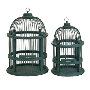 Set of 2 Teal Round Wooden Decorative Hanging Birdcages 16""
