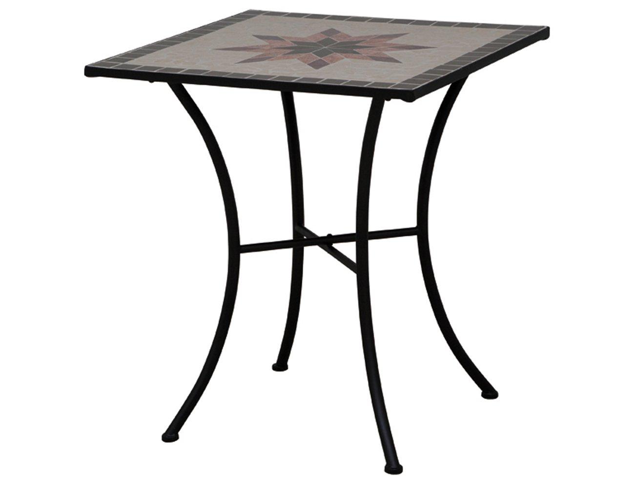 Siena Garden 875352 Tisch Stella, Gestell schwarz, Tischplatte in Mosaik-Optik, eckig, 64 x 64 x 71 cm günstig