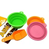 Alfie Pet by Petoga Couture - Set of 3 Ros Silicone Pet Expandable/Collapsible Travel Bowl with Small Food Scoop Set - Bowl Size: 1.5 Cups