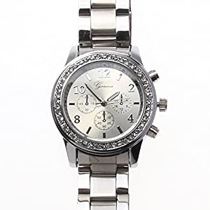 Geneva Chronograph Look with Crystals..Silver Tone Metal Link