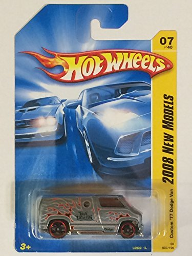Hot Wheels Custom '77 Dodge Van Silver, Red Flamz FTE #7 2008 1/64