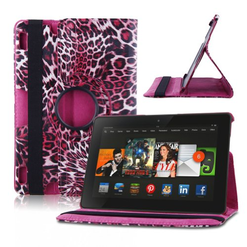 "Auto Sleep / Wake Feature 360 Degree Rotating Lightweight Smart Case Cover For Kindle Fire Hdx 8.9"" Tablet 8.9"" Hdx Display 2013 Release - Leopard Pink + Free Gift One Stylus Pen"