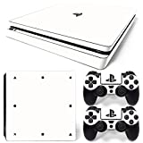 ZoomHit Ps4 Slim Playstation 4 Slim Console Skin Decal Sticker White Classic + 2 Controller Skins Set (Slim Only)