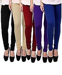 BULLY Women's Cotton Lycra Leggings combo of 5 (MPJLEG-73)