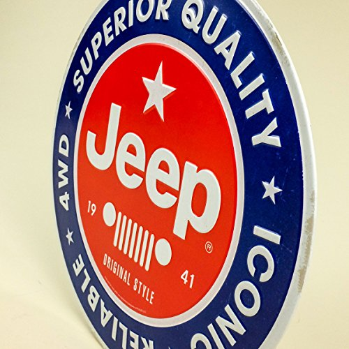 12 x 12 Vintage Style Iconic Reliable Jeep Wrangler 4WD Embossed Tin Sign