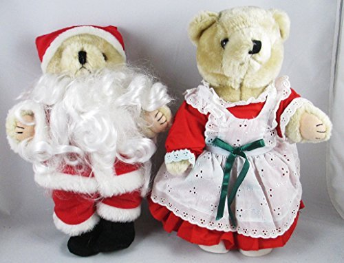 Christmas Decore - 1992 Mr & Mrs Santa Claus Plush Teddy Bears - Jointed Arms & Legs - 1