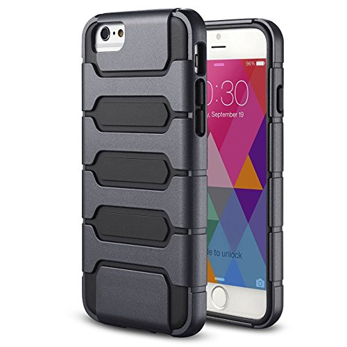 Meaci® Cellphone Case For Iphone 6 Plus 5.5 Inch Case 2 In 1 Combo Hybrid Defender High Impact Body Armorbox Hard Pc&Silicone Protective Bumper Case (Black I)