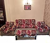MAJESTINA CHENILLE MAROON REVERSIBLE SOFA SLIPCOVER SET WITH 6 ARMS COVER